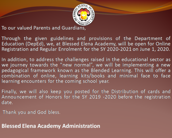Announcement (May 12, 2020)